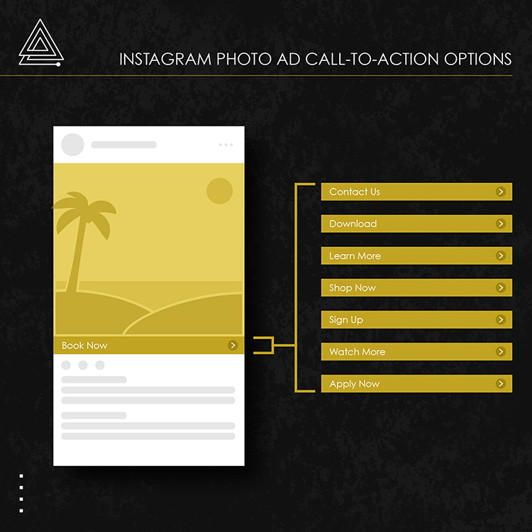 Instagram photo ad call to action options