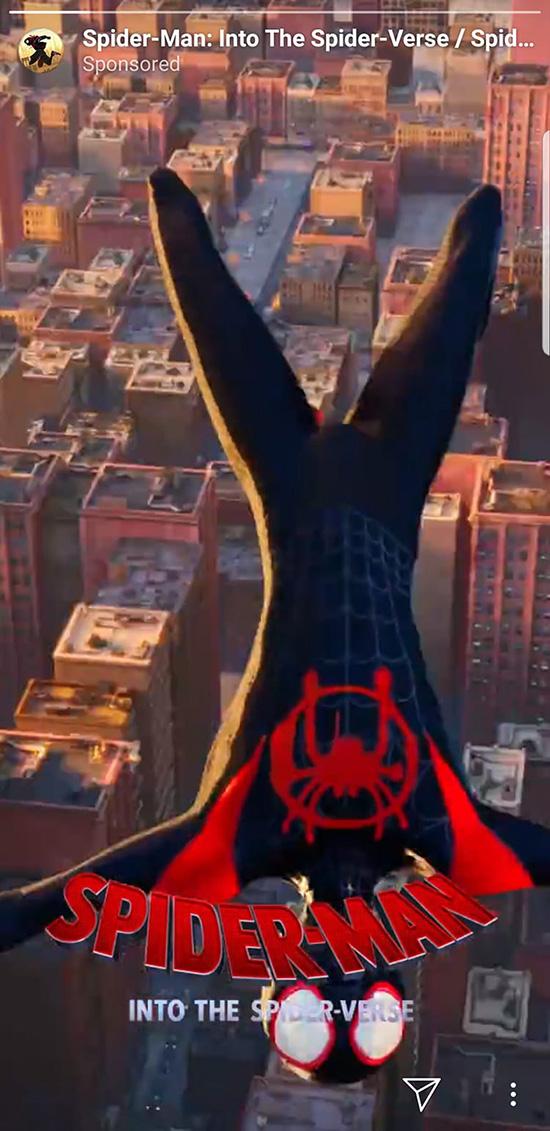 spider-man into the spider-verse instagram stories ad
