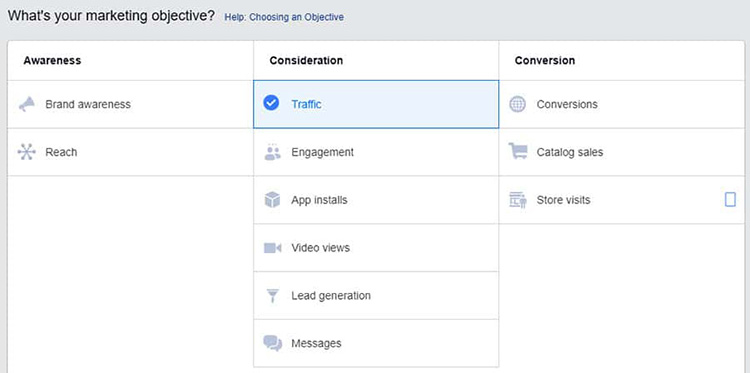what's your marketing objective ads manager