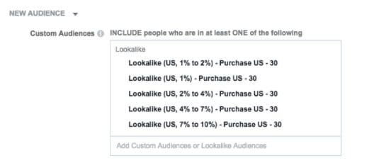 custom 1% to 10% lookalike audiences