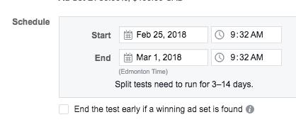 schedule your ad split test runs